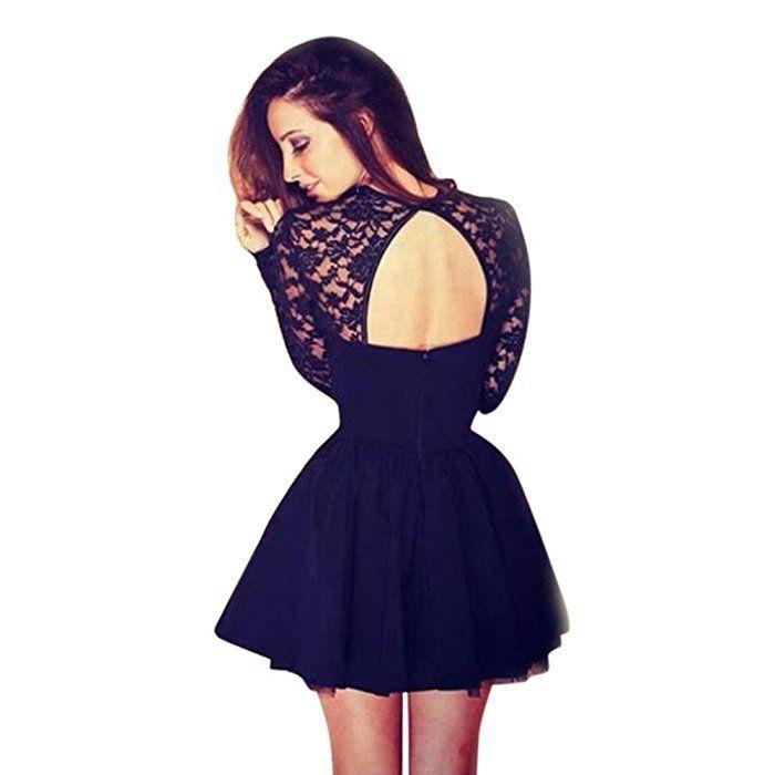 Vestidos de fiesta, K-youth® Moda Vestido Corto de Mujer sin Espalda Cóctel Vestido de Fiesta Mangas Largas Encaje Vestido de Noche (Negro, S): Amazon.es: Ropa y accesorios