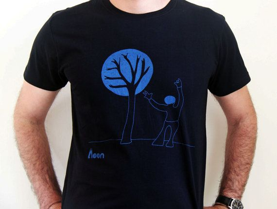 A man with a tree - Men's T-Shirt, Blue  on black T-shirt - Tee - Shirt  - Humor - witty t shirt- Birthday Gift - hand illustrated