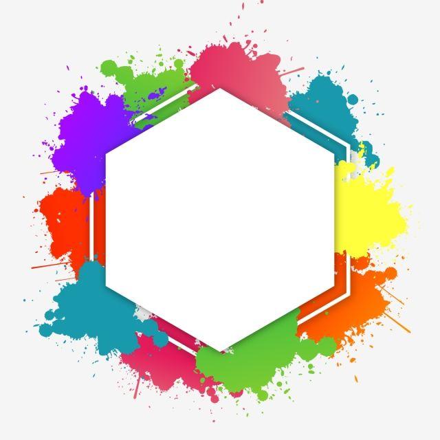 Colorful Brush Splatter Text Frame Vector Brush Effect Colorful