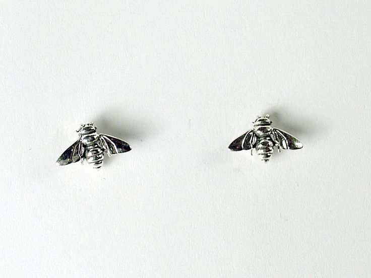 Sterling Silver & Surgical Steel tiny bee stud earrings- insects, bees, apiary