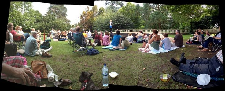 Phil settles the audience as we begin our first outdoor production of Midsummer. Show: Midsummer revival