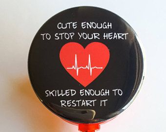 """1-1/2"""" Cardiac Nurse RN ER Inspired Quote, """"Cute Enough to Stop Your Heart, Skilled Enough to Restart it"""" ID Name Badge reel with bling"""
