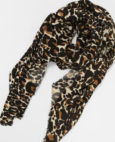 Sciarpa sottile leopardata bruno