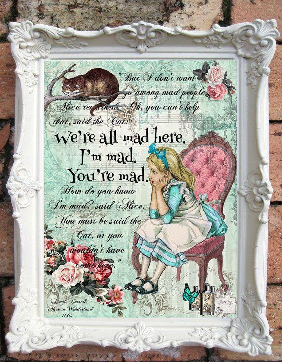 Alice im Wunderland Decor ALICE im Wunderland Zitat Kunst Drucken Alice im Wunderland Kindergarten Wall Art Alice im Wunderland Kinderzimmer Decor C:A37