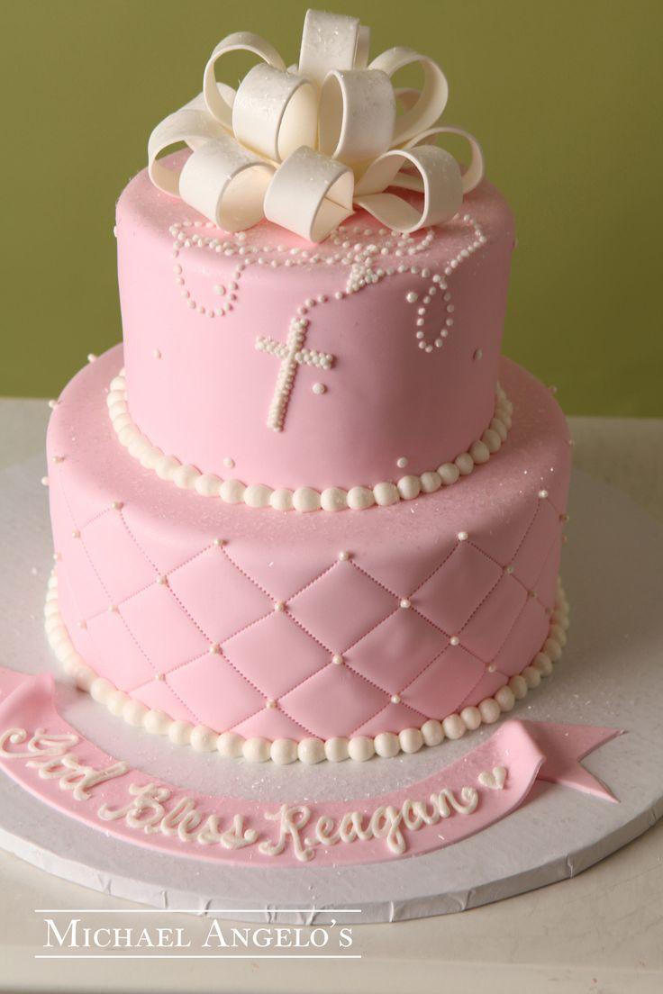 torta rosada para primera comunion