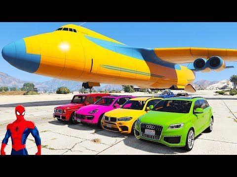 TRANSPORT ALL JEEPS w/ Spiderman Disney Cars Lightning McQueen Nursery Rhymes Cartoon For Kids - YouTube