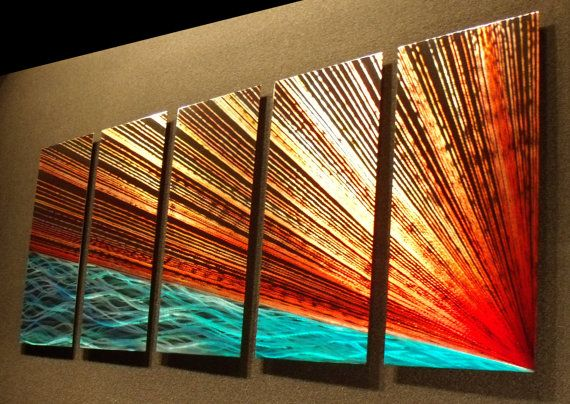 "Abstract Metal Wall Art Painting a Sculpture by Nider the Internationally Acclaimed Artist of Contemporary Decor 64""W x 24""H - River's Edge on Etsy, $3,293.01"