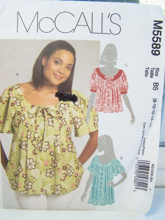 Misses' Pleated Top w/Raglan Sleeves McCall's M5589 Women's Sewing Pattern SALE Scoop Neck Pullover Top, Bow Detail Fashion Top Size 8 - 16 1