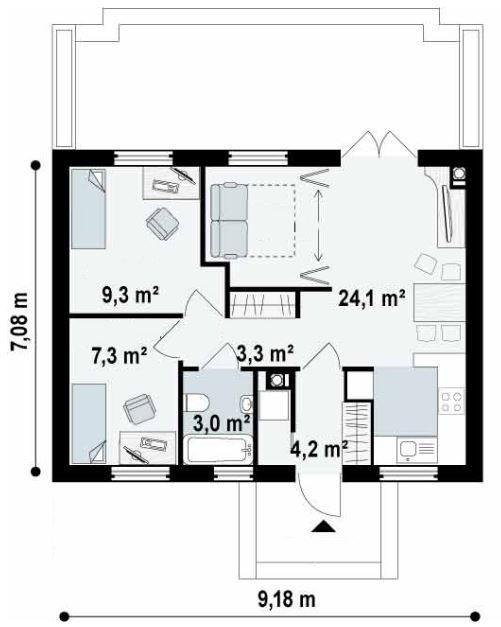 Medidas de una casa con 2 recamaras y ba o dise o en for Disenos de banos para casas pequenas