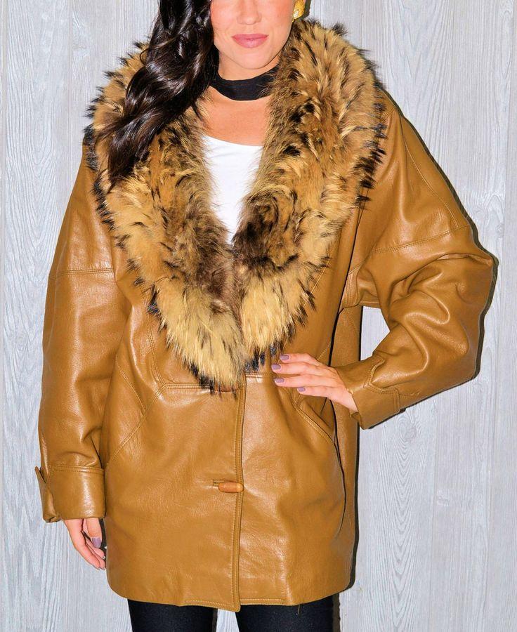Brown Fur Coat Genuine Leather Camel Animal Fur Jacket Winter Fall Glam Vintage 80's Boho Bohemian Hipster Oversize Chunky Fur Coat