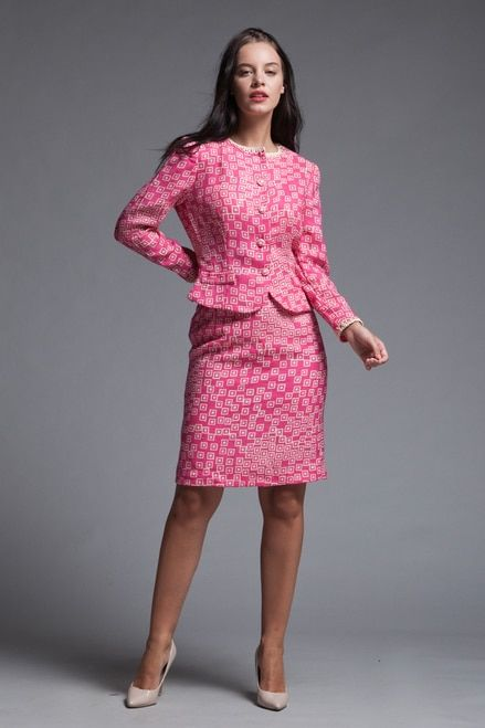 dc7b5fdf6b3 tweed skirt suit matching set light weight neon pink geometric square print  vintage 60s SMALL S
