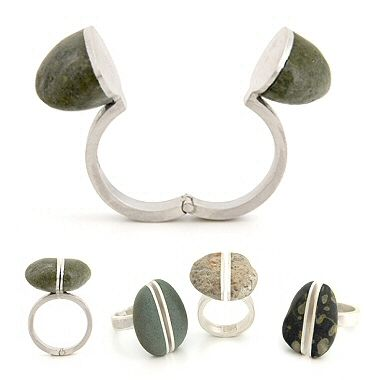 Andrea Williams, aka Bound Earth, keeps her hinged split rocks secured with rare earth magnets