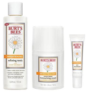 Burt's Bees Brightening Refining Tonic, Burt's Bees Brightening Even-tone Moisturizing Cream, and Burt's Bees Brightening Eye Treatment.
