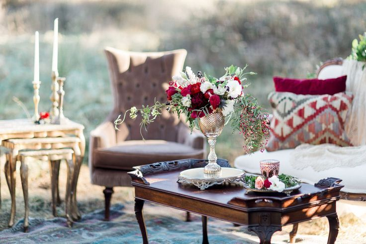 Perfect fall wedding lounge area - burgundy, taupe, gold | Southern California Wedding Rentals