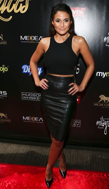 Celebrities In Leather: Emmanuelle Chriqui wears a black leather skirt
