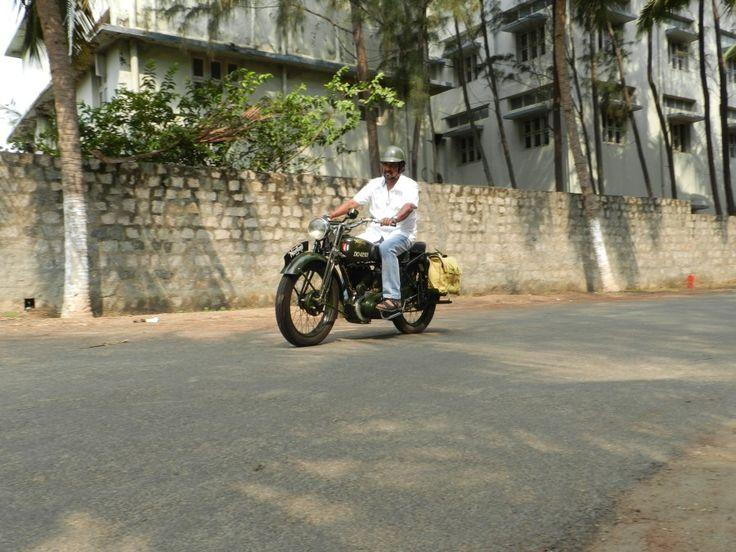 Mr. Muthukumar, B&QRest Garage, on his Norton WD 16H!