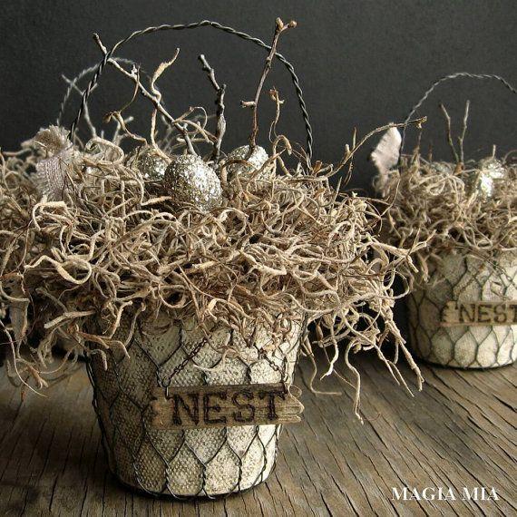 Elegant Rustic Nest Basket, German Glass Glitter, Silver Eggs, Chicken Wire, Spanish Moss, Twigs, Painted Peat Pot