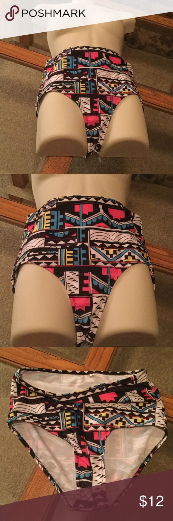 High Waisted Swim Bottom NWOT Aztec Design, size XL.  NWOT very stretchy material.  New multi colored. Swim Bikinis