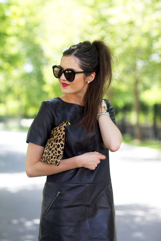 Love this black leather dress by Halogen, hair in a high ponytail and carry a leopard clutch paired with these Karen Walker sunglasses. Perfect!!