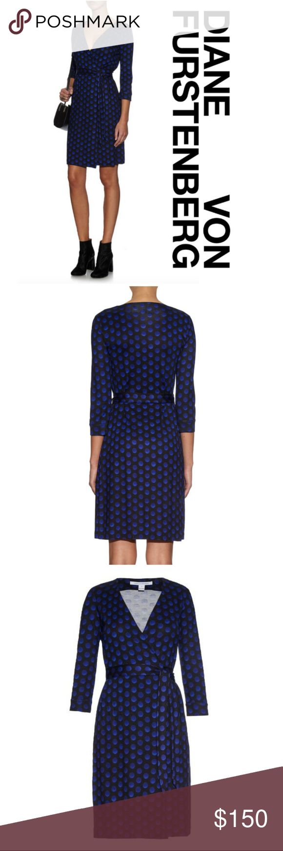 "DVF New Julian Two Silk Jersey Wrap Dress Blue 6 S Brand new with tag, classic Diane von Furstenberg New Julian Two Silk Jersey Wrap Dress. $398 MSRP Size: 6 (appropriate for those who wear size 4, if you want to be more modest in front opening)  Color: Blue/Black ""Daze Dot Small"" print (the blue dots have cool ombré effect) Fabric: More faithful to the DVF original wrap dress, 100% silk jersey (many recent Julian dresses are not!)  - Classic, true crossover wrap style with self-tying waist…"