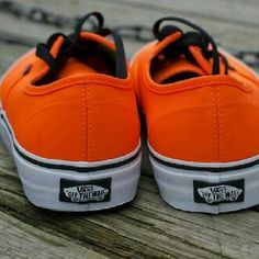 Neon orange vans In great condition, only worn a few times but they do need some shoelaces! Men's 7.5 woman's 9 Vans Shoes Sneakers