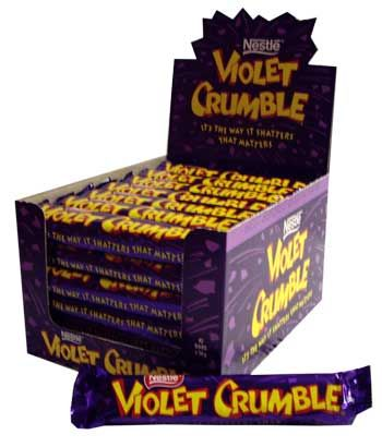 'It's the way it shatters that matters'     Violet Crumble has a crunchy honeycomb centre which is covered by two layers of creamy chocolate. Since the first one was made in 1913, it is one of Australia's favourite chocolate bars.
