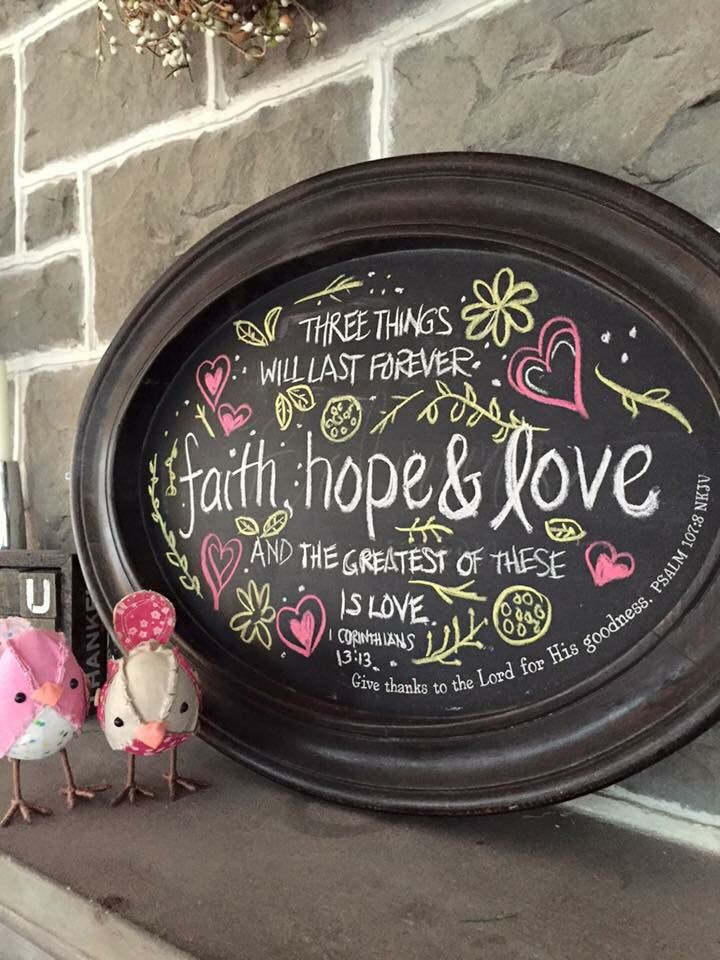 Faith, Hope, Love! Create your own wall hanging with our Mary and Martha chalkboard tray.  www.mymaryandmartha.com/patterson