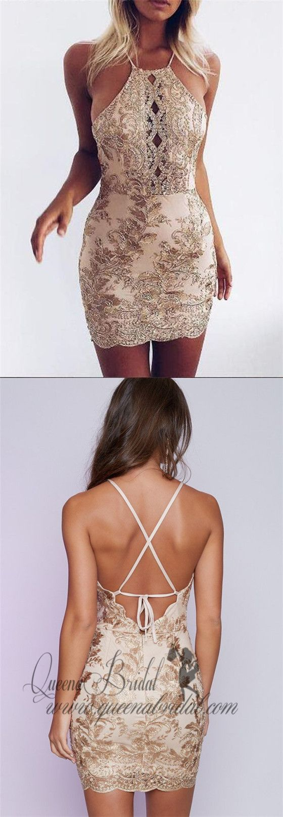 Halter backless gold applique sparkly tight homecoming dresses