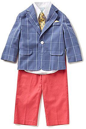 Class Club Little Boys 2T-7 4-Piece Windowpane Suit Set
