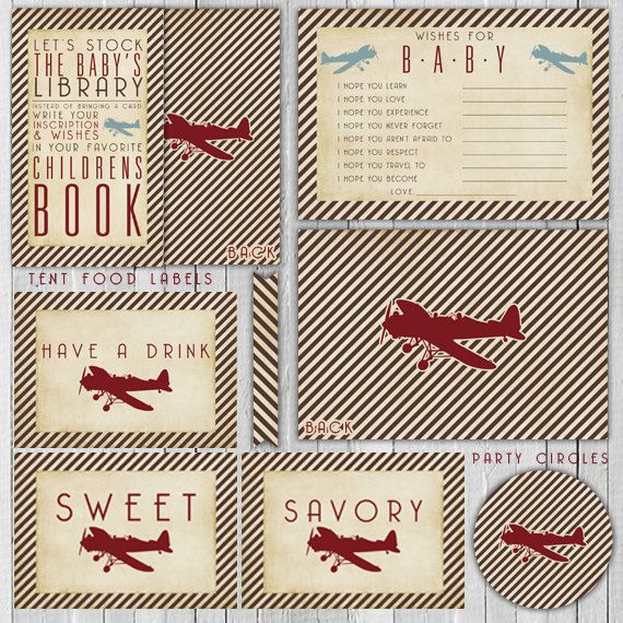 Vintage Airplane Party Printables Airplane Birthday Airplane: 17 Best Images About Airplane-Travel-Hot Air Balloon Party