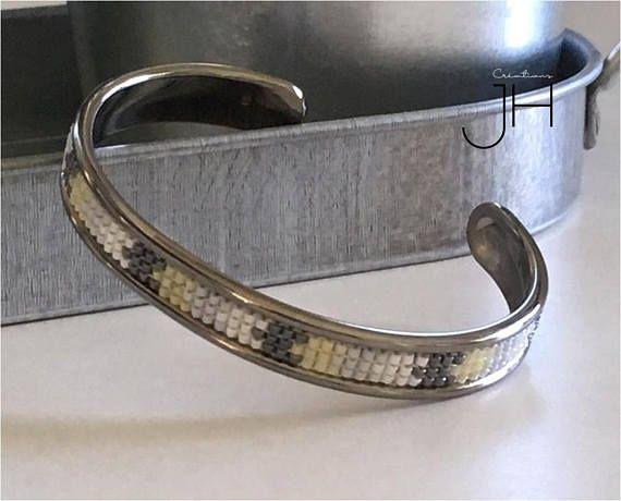Bracelet jonc en laiton de couleur GRIS FONCÉ MÉTALLISÉ /
