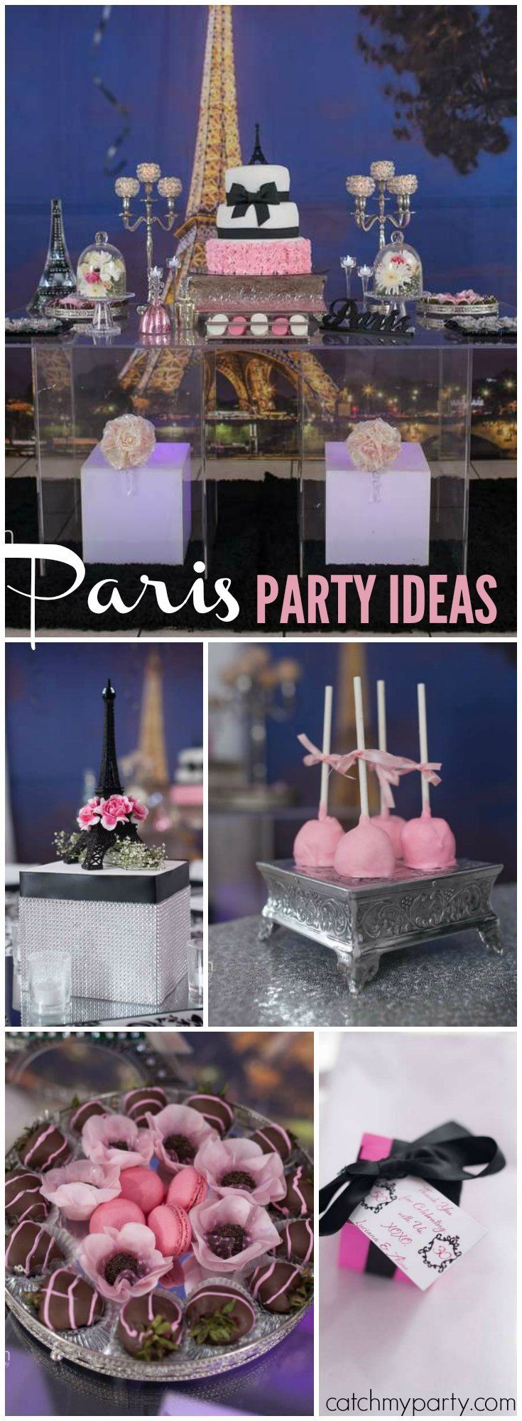 Such an elegant Paris birthday party for a mother and daughter! See more party ideas at Catchmyparty.com!