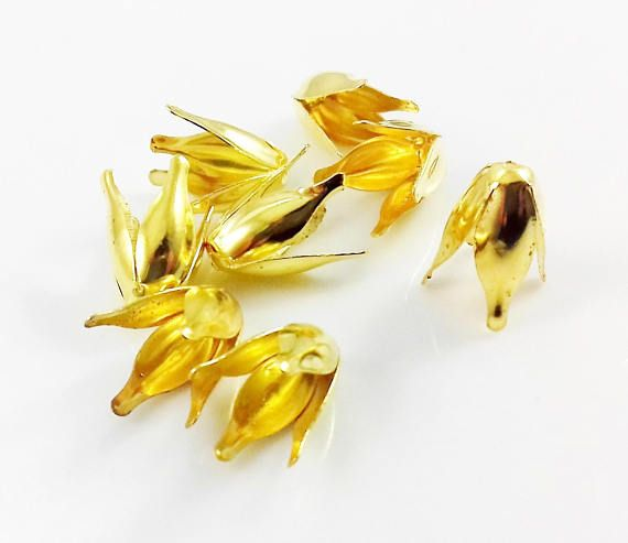 12 Gold Plated Bead Caps Flower Cup 13mm x 8mm Gold