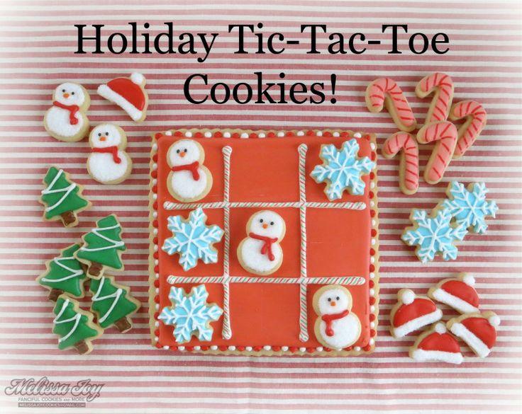 Adorable Holiday Christmas Tic Tac Toe Cookies - by Melissa Joy Cookies -- http://melissajoycookies.com/2013/12/16/holiday-tic-tac-toe-cookies/