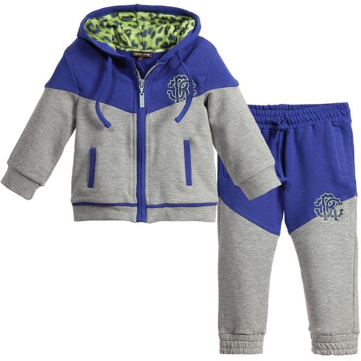 Roberto Cavalli Baby Boys Grey & Blue Jersey Tracksuit at Childrensalon.com