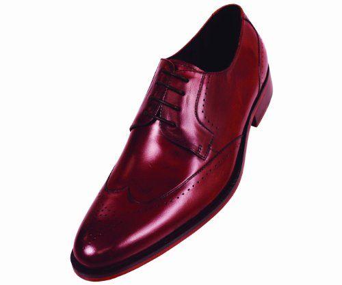 Steven Land Footwear Collection Mens Burgundy Classic Wingtip ...