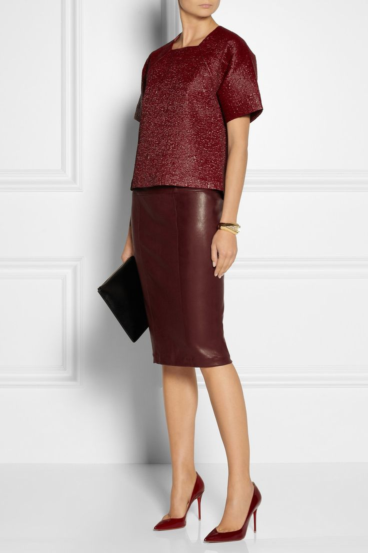 Simple and gorgeous. Zero+MariaCornejo|Nobi stretch-leather pencil skirt|NET-A-PORTER.COM