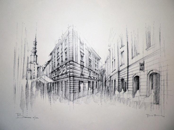 Drawing 60x35cm - Bratislava - Michalska street