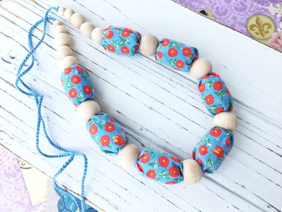 Fabric necklace Nursing necklace teething by ForeverValues on Etsy