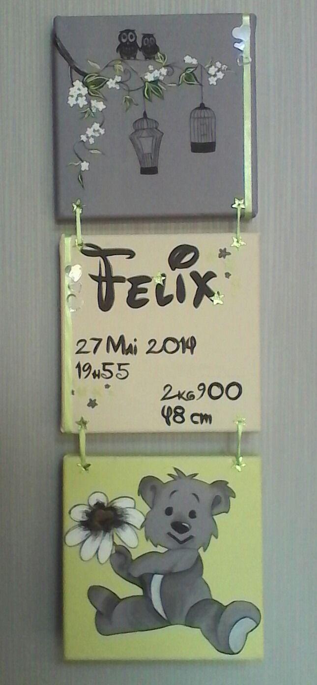 """tableau personnalisé pour enfant avec prénom triptyque """" ourson"""""""