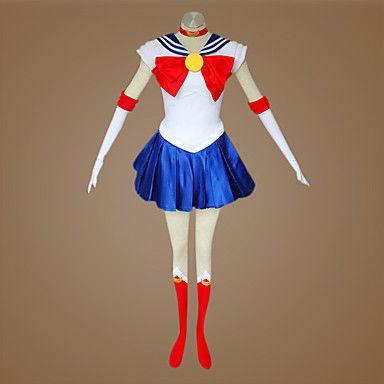 Inspiré par Sailor Moon Sailor Moon Anime Costumes de cosplay Costumes Cosplay Mosaïque Blanc / Rouge / Bleu Sans ManchesRobe / Cache-col de 119252 2017 à €29.39