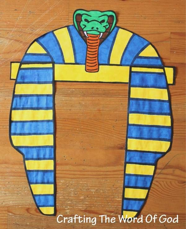 Pharaohs Head Dress  This craft can be done for different bible stories and adapted for each one. It is very versatile. It can be used for:   Abraham's move to Egypt and his deception towards the pharaoh.  Joseph becomes second in command over Egypt.  God freeing His people through Moses.  http://craftingthewordofgod.wordpress.com/2013/04/30/pharaohs-head-dress/