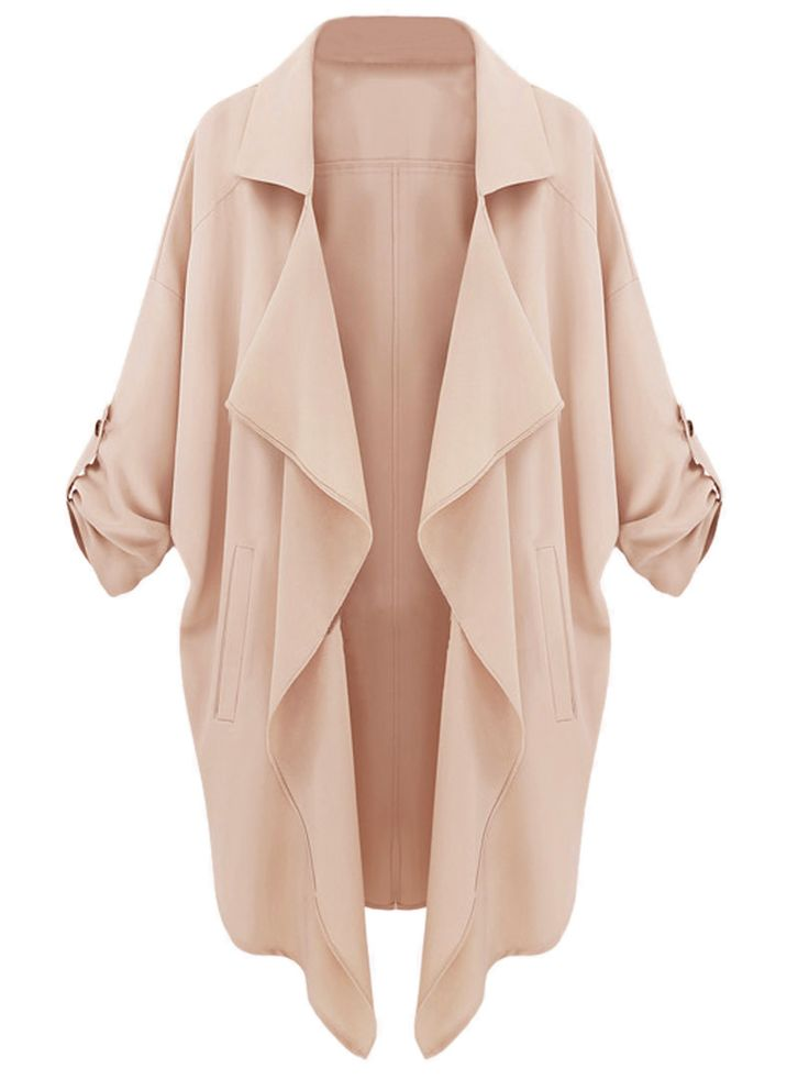 Beige Lapel Roll Up Sleeve Open Front Trench Coat - Find Women Fashion at CHOiES