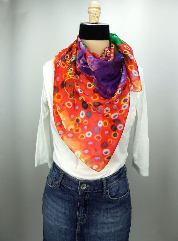 """Foresee"" Purple, Pink, Flower Silk Scarf, Head Wrap, Fashion Accesory, Neck Scarf, Bandana, Fashion Scarf, Neckercheif, Pashima"