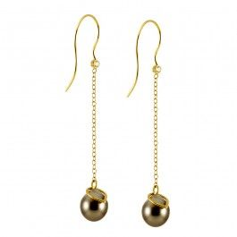Autumn T(ear) Drops Earrings - Danish Design. Rikke Lunnemann's Autumn Rain T(ear) Drops are a beautiful testament to the pouring rain in Denmark's autumn season. Fair Trade Tahitian pearls, crowned with teardrop-shaped gold rings, hang from 18-karat gold chains, topped with sparkling seed diamonds just below the hooks of these earrings. No one likes getting caught in the rain, but Denmark can be as beautiful in autumn as these earrings…