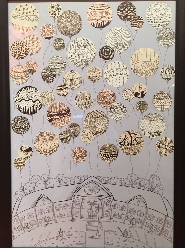 Collaborative art project for our school's auction. High schoolers created the line drawing of our school. Fifth graders created the Zentangle balloons.