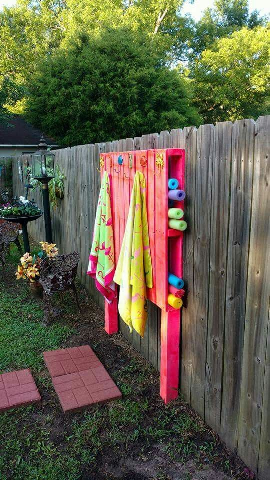 Pool noodle holder and pool towel hanger recycled pallet