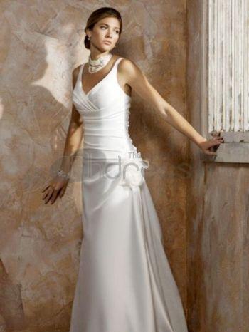 Simple Wedding Dresses-White V-neck Applique Pleated simple wedding dresses
