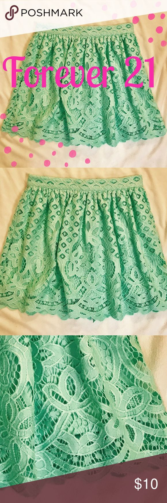 """Forever 21 Mint Green Skirt NWT Forever 21. New with tags (2017). Flirty, mint green skirt with scalloped edge. Total length is approximately 15.5"""" (13.5"""" lining). Waist 25"""" (zipper, no stretch). **Special Discount!!!** Bundle with the blouse in photo to save 15% on the pair! Please use """"make me an offer"""" so you are charged the correct amount. Forever 21 Skirts Mini"""