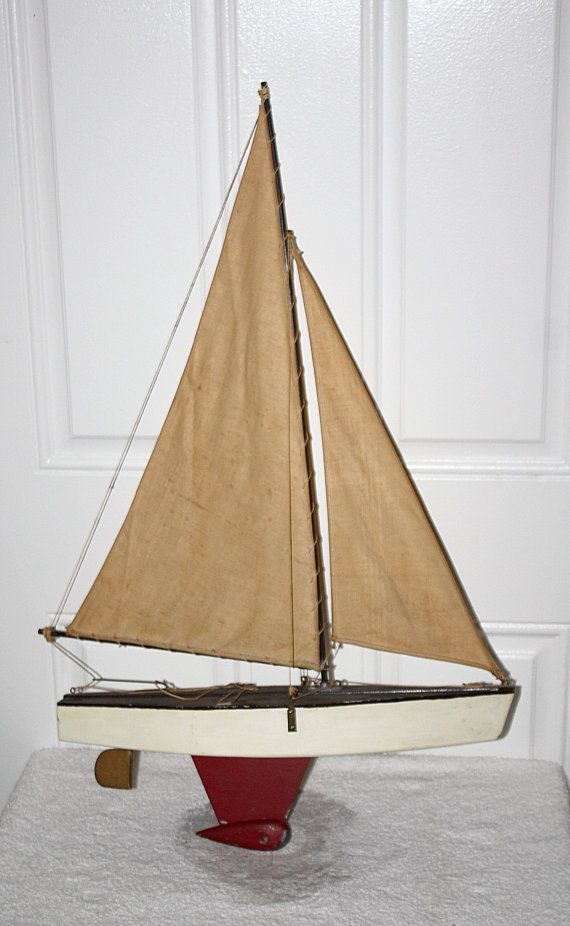 Vintage antique wood sailing yacht pond boat by - Antique exchange home design baltimore md ...